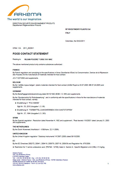 Certificazione ARKEMA: Food contact statement - RP rivestimenti plastici